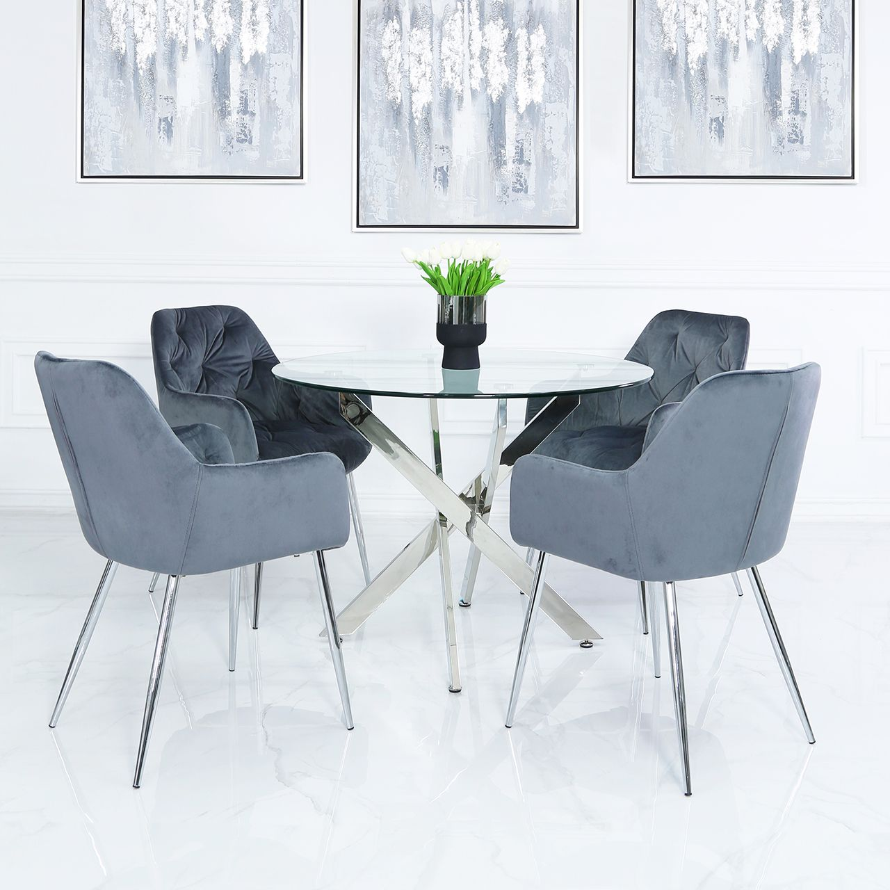 130cm Glass Round Dining Table With 4 X Grey Velvet Dining Chairs