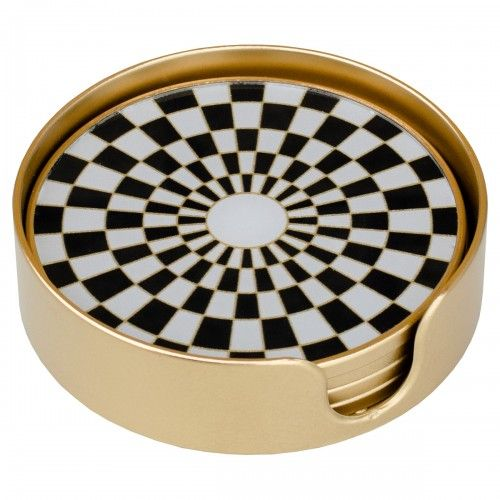 Checker Gold Edge Set of 4 Coasters
