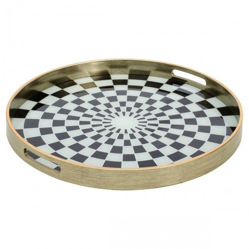 Circular Antique Gold Serving Tray With Chequer Design - Large