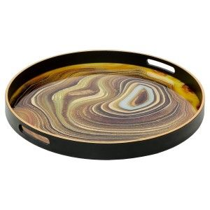 Circular Black Serving Tray With Sand Design