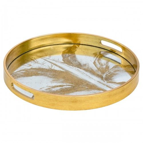 Circular Gold Serving Tray With Mirrored Leaf Design