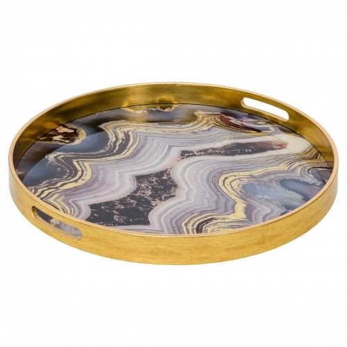 Circular Gold Serving Tray With Oyster Design
