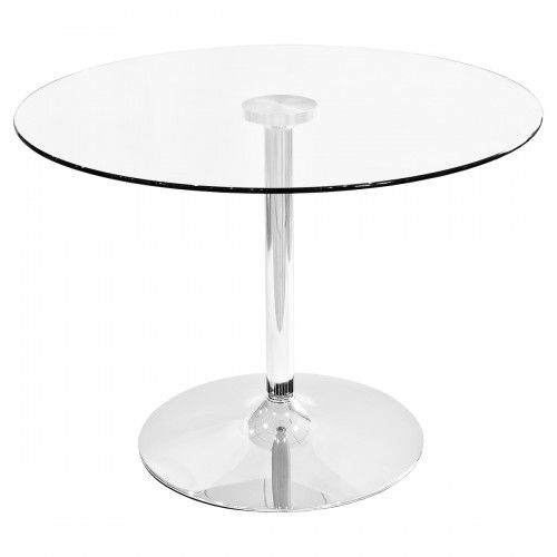 Clear Glass Round Dining Table - 100cm Diameter