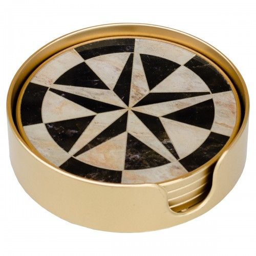 Compass Gold Edge Set of 4 Coasters