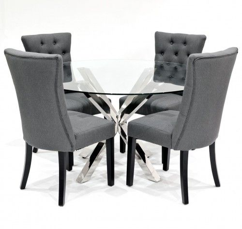 Crossly circular glass Dining Set with Grey Sanderson Dining Chairs