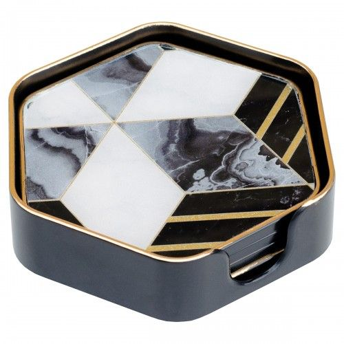 Diamonds Black Edge set of 4 Hexagon Coasters