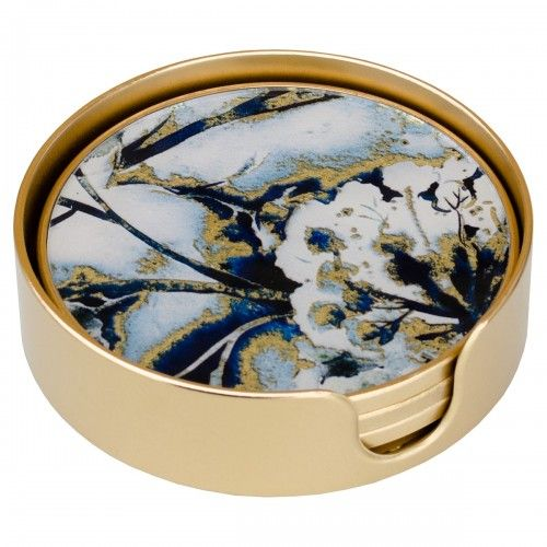 Flower Gold Edge Set of 4 Circular Coasters
