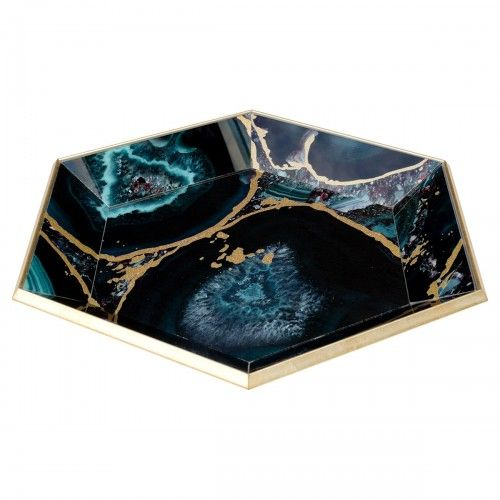 Hexagon Glass Serving Tray-Deep Blue Agate Design