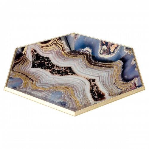 Hexagon Glass Serving Tray-Oyster Design