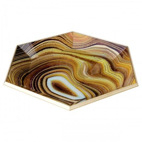 Hexagon Glass Serving Tray-Sand Design