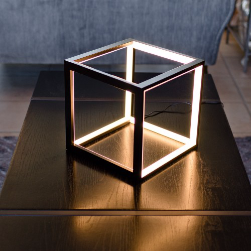 LED  Contemporary Box Table Lamp - Black or White