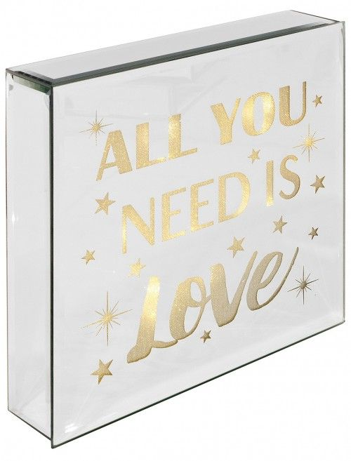 Light Up Mirrored All You Need Is  Love Plaque