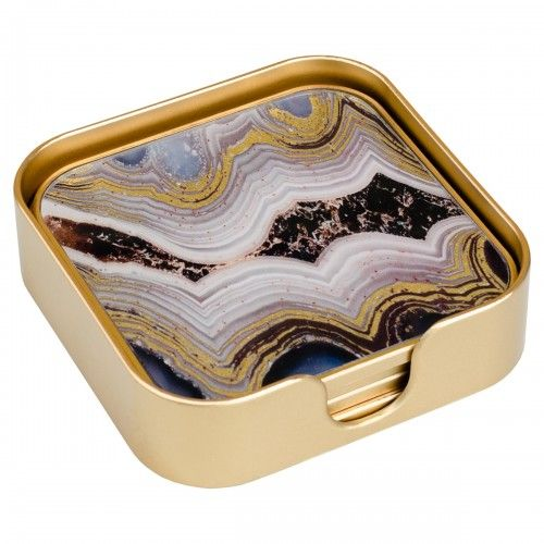 Oyster Gold Edge Set of 4 Square Coasters