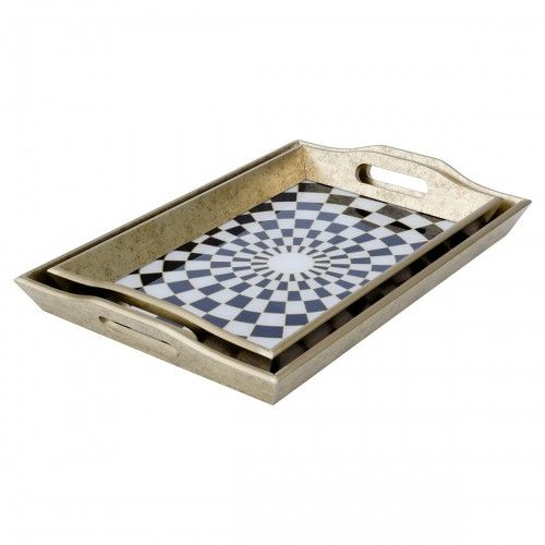 Rectangular Serving Tray Checkers Antique Gold