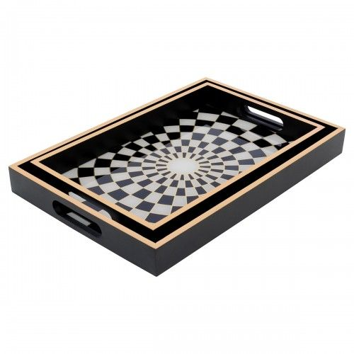 Rectangular Serving Tray Checkers Black Edge