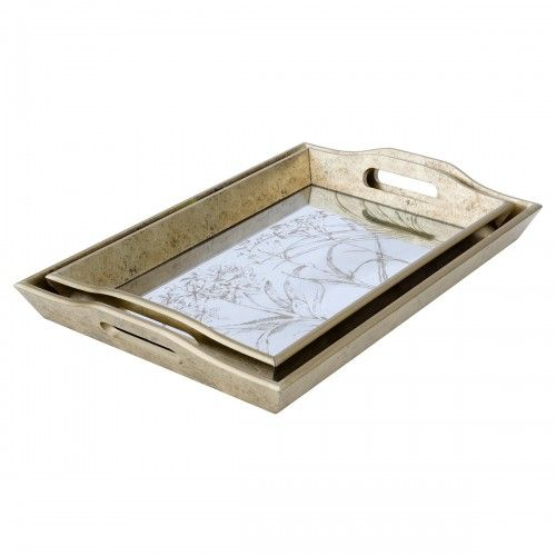 Rectangular Serving Tray Leaf Antique Gold Edge