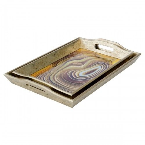 Rectangular Serving Tray Sand Antique Gold Edge
