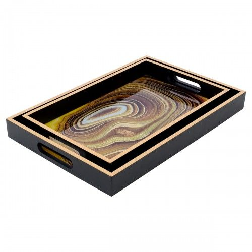 Rectangular Serving Tray Sand (Gold & Black edge)