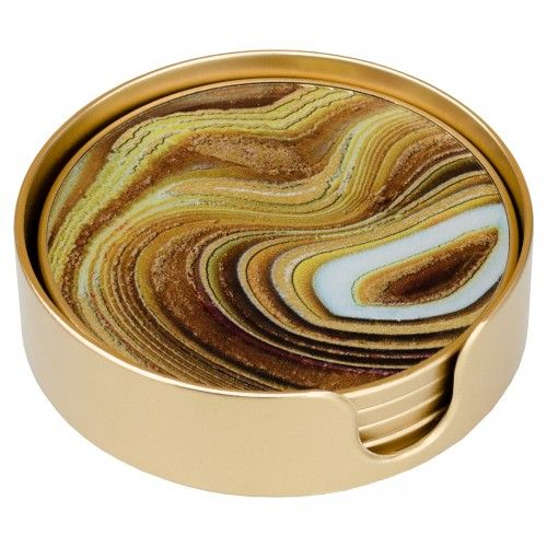 Sand Gold Edge Set of 4 Coasters