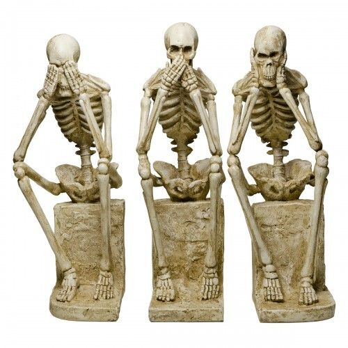 Set of Three No Evil Skeletons